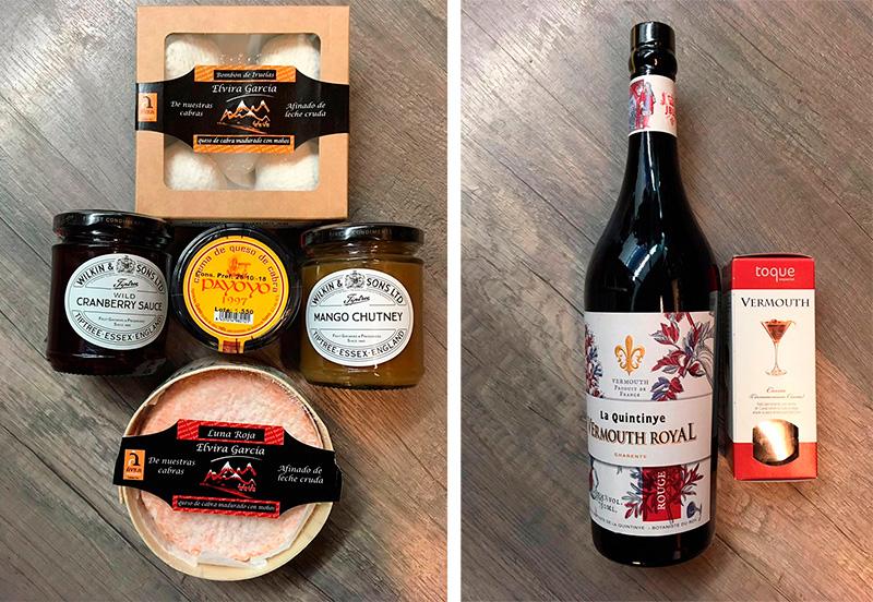 quesos de cabra y vermouth